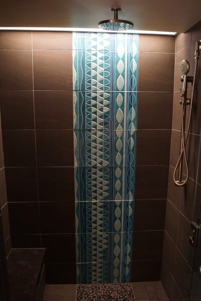 gorgeous tile work in the stand up shower!