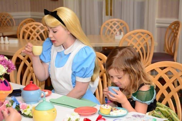 Enjoying tea with Alice