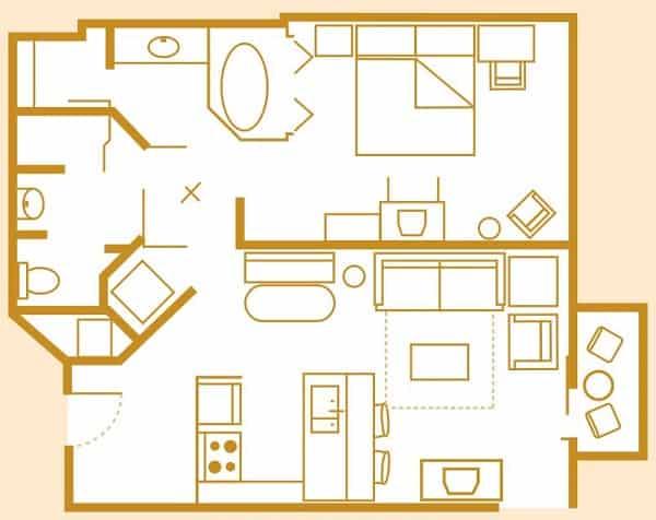 1 Bedroom Villa Layout