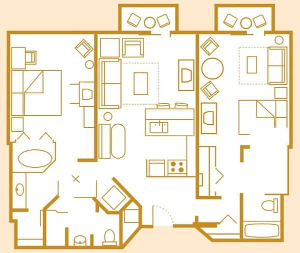 2 Bedroom Villa Layout