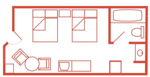 Layout Of Double Room In Hotel
